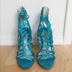 SOPHIA WEBSTER aquamarine lace up stilettos